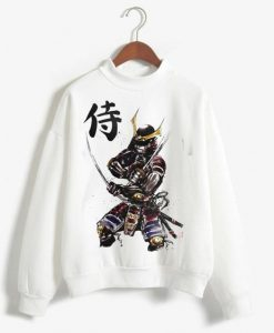 Samurai Illustration Folk Sweatshirt Fd4D