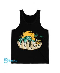 beach your hand illustration Tank Top EL7D0